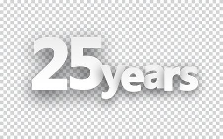 twenty five: Veinticinco a�os signo de papel sobre las c�lulas. Ilustraci�n del vector. Vectores