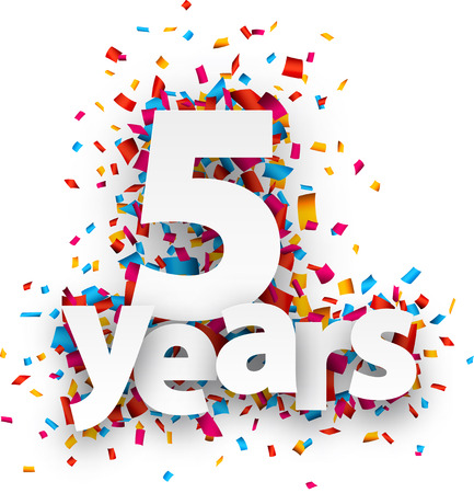 anniversary: Five years paper sign over confetti. Vector holiday illustration. Illustration