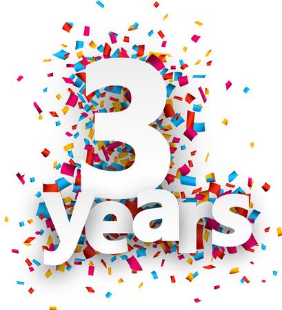 anniversaire: Trois ans de signe de papier sur des confettis. Vector illustration jour férié.