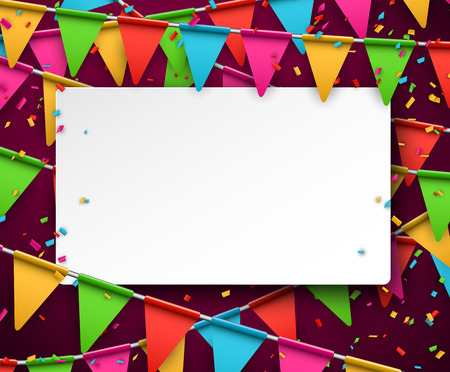 paper note: White paper note. Colorful celebration background with confetti. Vector Illustration. Illustration