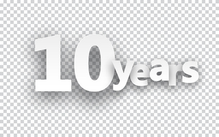anniversary celebration: Ten years paper sign over cells. Vector illustration.