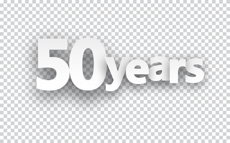 50 years jubilee: Fifty years paper sign over cells. Vector illustration.