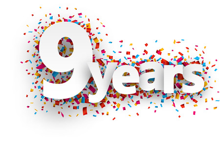 anniversary celebration: Nine  years paper sign over confetti. Vector holiday illustration. Illustration