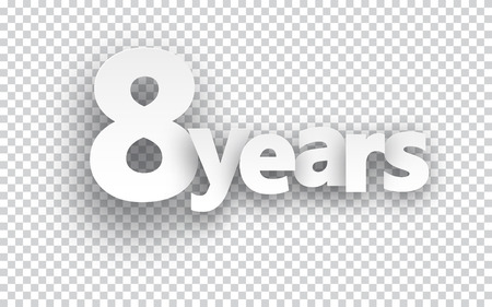 8 years birthday: Eight years paper sign over cells. Vector illustration.