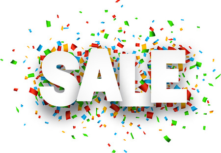 White sale sign over confetti background. Vector holiday illustration. Stock Illustratie