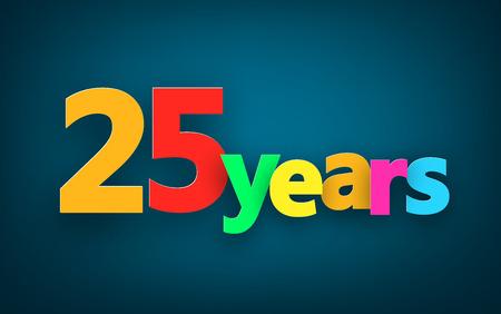 25: Twenty five years paper colorful sign over dark blue. Vector illustration.