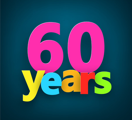 sixty: Sixty years paper colorful sign over dark blue. Vector illustration.