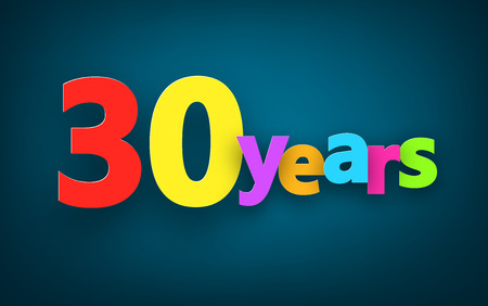thirty: Thirty years paper colorful sign over dark blue. Vector illustration.