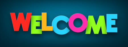 Colorful welcome sign over dark blue background. Vector illustration.