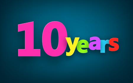 ten years jubilee: Ten years paper colorful sign over dark blue. Vector illustration.