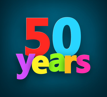 fifty: Fifty years paper colorful sign over dark blue. Vector illustration.