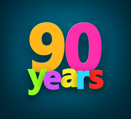 90: Ninety years paper colorful sign over dark blue. Vector illustration.