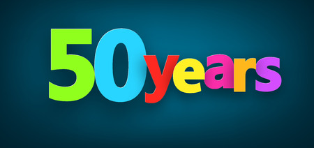 50: Fifty years paper colorful sign over dark blue. Vector illustration.