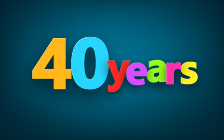 forty: Forty years paper colorful sign over dark blue. Vector illustration.