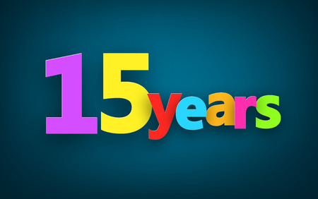 fifteen: Fifteen years paper colorful sign over dark blue. Vector illustration. Illustration