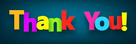 Colorful thank you sign over dark blue background. Vector illustration. Ilustracja
