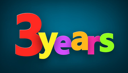 digit 3: Three years paper colorful sign over dark blue. Vector illustration.