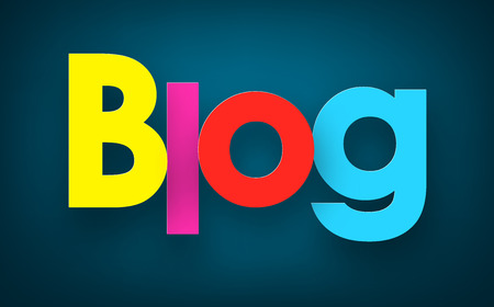 blog: Colorful blog sign over dark blue background. Vector illustration.