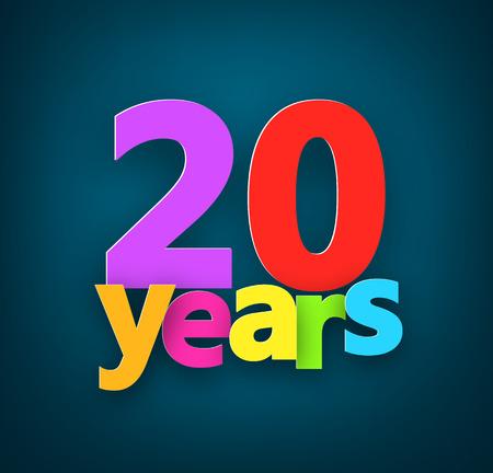 twenty: Twenty years paper colorful sign over dark blue. Vector illustration.