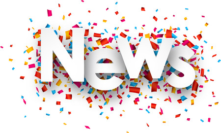 White news sign over confetti background. Vector holiday illustration.  イラスト・ベクター素材