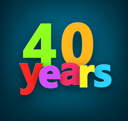 40: Forty years paper colorful sign over dark blue. Vector illustration.