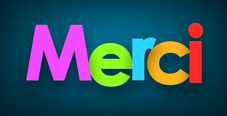 merci: Colorful merci sign over dark blue background. Vector illustration.