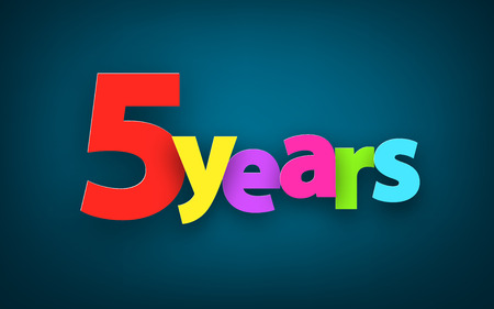five years': Five years paper colorful sign over dark blue. Vector illustration. Illustration