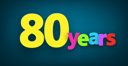 eighty: Eighty years paper colorful sign over dark blue. Vector illustration.