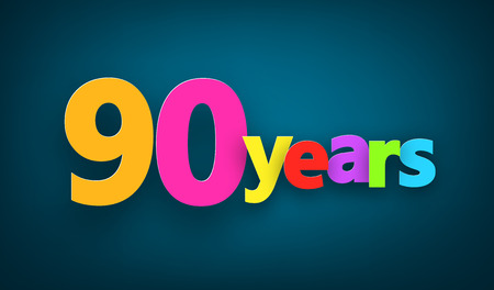 ninety: Ninety years paper colorful sign over dark blue. Vector illustration.