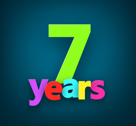 seven years: Seven years paper colorful sign over dark blue. Vector illustration. Illustration