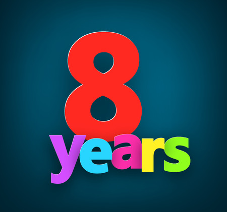 8 years birthday: Eight years paper colorful sign over dark blue. Vector illustration.