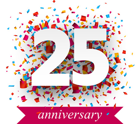 anniversary: Twenty five paper sign over confetti. holiday anniversary illustration. Illustration