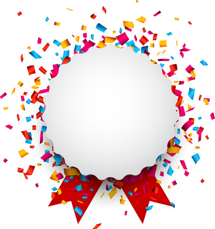 Colorful confetti celebration background. Paper round speech bubble with red ribbons.  Ilustração