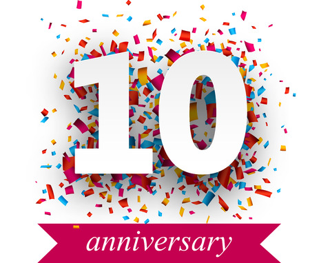 affari: Dieci carta segno sopra coriandoli. festa anniversario illustrazione.
