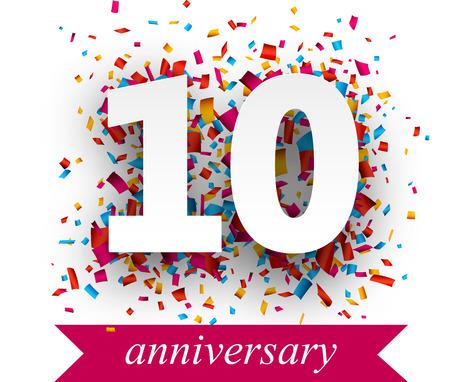 anniversaire: Dix signe de papier sur des confettis. vacances anniversaire illustration. Illustration