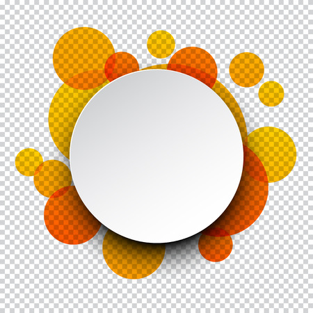 3d circle: illustration of white paper round speech bubble over orange circles.  Illustration