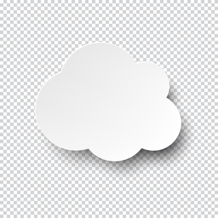 illustration of white blank paper cloud speech bubble with shadow.