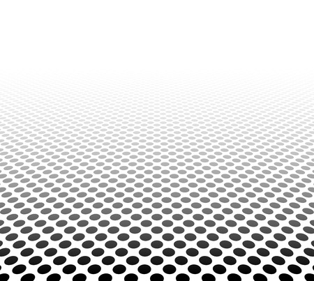 dot pattern: Perspective black and white grid. Surface with circles.  Illustration