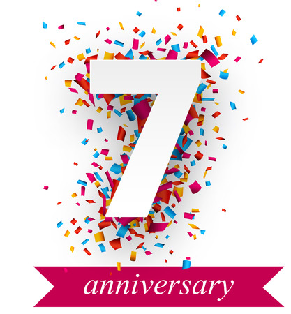 anniversary backgrounds: Seven paper sign over confetti. holiday anniversary illustration.