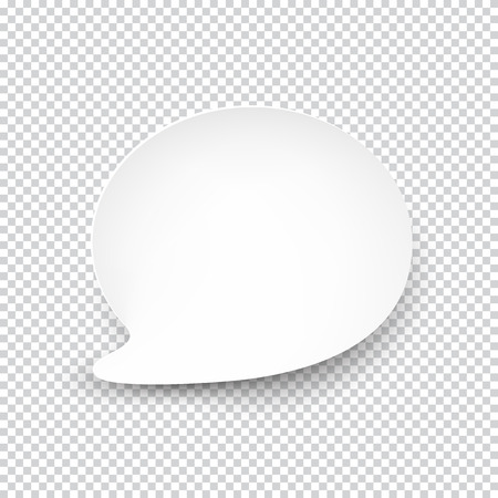 illustration of white paper rounded speech bubble with shadow. Ilustração