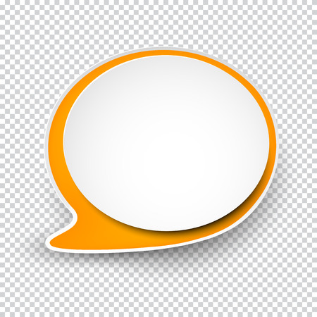 illustration of white paper rounded speech bubble with shadow.  Иллюстрация