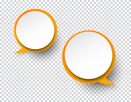 bubble background: illustration of white paper two round speech bubbles with shadow.
