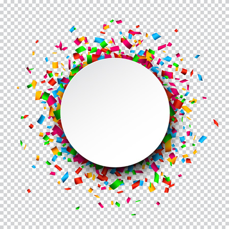 events: Colorful celebration background. Paper round speech bubble with confetti.