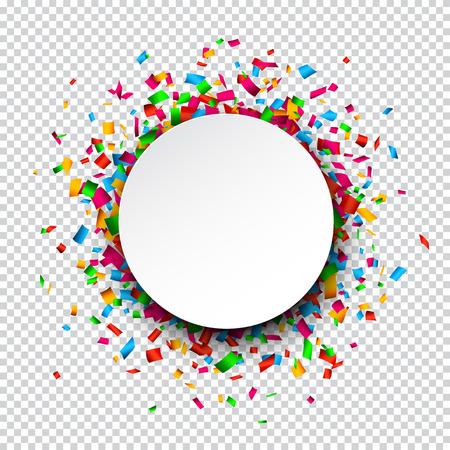 Colorido fondo de la celebración. Papel burbuja de diálogo redonda con confeti. Vectores