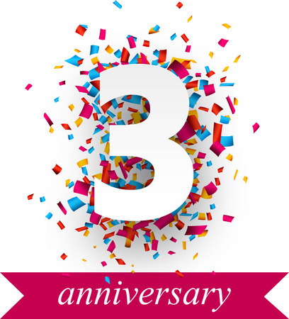 anniversary: Three paper sign over confetti. holiday anniversary illustration.