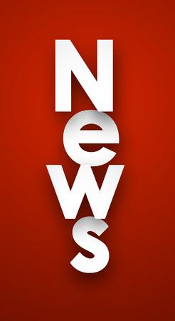new media: White news sign over red background.