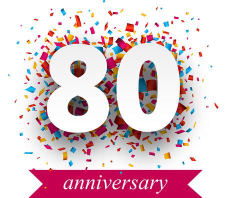ochenta: Signo de papel Ochenta sobre confeti. Vector aniversario holiday ilustraci�n. Vectores