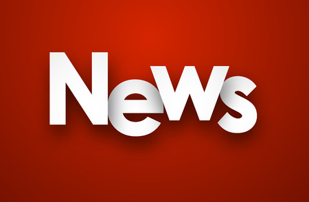 news background: White news sign over red background. Vector illustration.