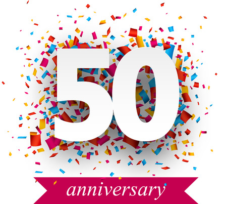 Fifty paper sign over confetti. Vector holiday anniversary illustration. Vettoriali