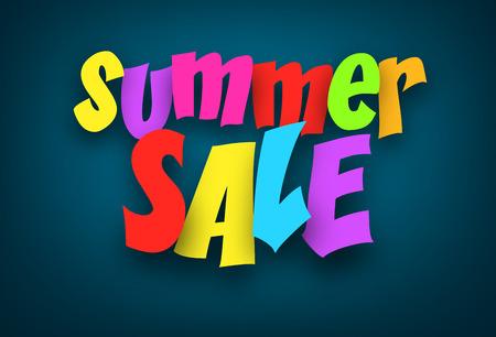 summer sign: Colorful summer sale sign over dark blue background. Vector holiday illustration.